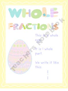 First Fractions Whole Half and Quarter Posters