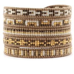 Chan Luu - Gold Mix Sectioned Wrap Bracelet on Henna Leather, $195.00 (http://www.chanluu.com/wrap-bracelets/gold-mix-sectioned-wrap-bracelet-on-henna-leather/)