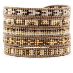 Chan Luu - Gold Mix Sectioned Wrap Bracelet on Henna Leather, $195.00 (http://www.chanluu.com/wrap-bracelets/gold-mix-sectioned-wrap-bracelet-on-henna-leather/)