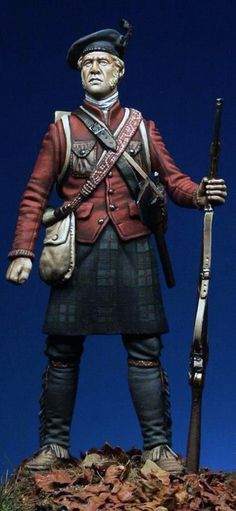 Another Scottish Soldier this one wearing pants under his kilt so he must be posted somewhere really cold. He also has what looks like Native American regalia incorporated in his uniform.
