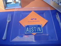 Ideas for 16th Birthday Party for Boys -- License Plate and Car Place Setting Idea in Cobalt Blue and Orange