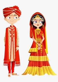 Traditional indian wedding dress PNG and Clipart Wedding Couple Cartoon, Indian Wedding Couple, Indian Bride And Groom, Wedding Couples, Paar Illustration, Wedding Illustration, Couple Illustration, Wedding Card Design, Wedding Art