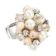 Simply Vera Vera Wang Two Tone Simulated Crystal & Simulated Pearl Bead Cluster Stretch Ring
