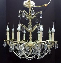 Eight Light Antique Ivory White Crystal Chandelier Crystals Pearls Wedding…