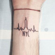 A nice skyline for Gianmarco New York Tattoo, Nyc Tattoo, Nyc Skyline Tattoo, New York Quotes, Cute Tats, Make Your Mark, Future Tattoos, Tattos, Small Tattoos