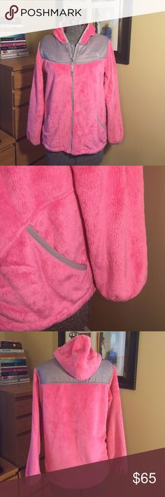 PINK NORTH FACE FLEECE JACKET GREAT CONDITION!  Used but only washed once, still has a lot of life yet. It is a girls XL but it would fit a women's small. See measurements for details! Thanks so much for visiting my posh closet! North Face Jackets & Coats