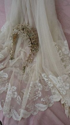 19th C.French hand embroidered wedding veil / shawl & wax crown