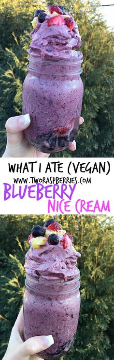"Blueberry Nice Cream- simple and easy food inspiration! ""What I Ate"" is easy to prepare things I ate this week to spark ideas for you! eating vegan doesn't need to be complicated / TwoRaspberries.com #Veganfood"