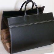 Porte-bûches cuir noir