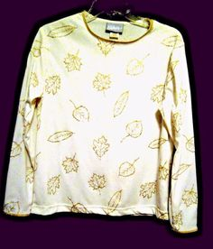 Blair White Career Blouse Metallic Gold Leaves Size S Poly Gold Scoop ...