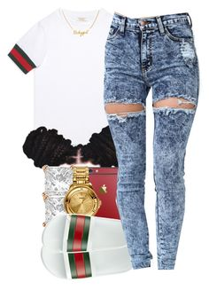 """gucci"" by yeauxbriana on Polyvore featuring Gucci, Allurez and Versus"
