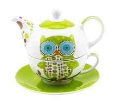Green Owl Tea For One Pinned by www.myowlbarn.com