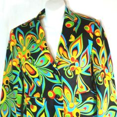 """Colorful Shagadelic Design. Loudmouth Womens Golf Blazer Suit Jacket. Bright & Colorful! Women's Size 8 (US), 16 (UK), 12 (AU). Approximate Length - 24"""". Center Back Vent. Fastening - Buttons.   eBay!"""