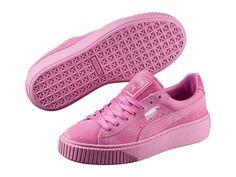 Women's Shoe PUMA Basket Platform Reset Suede Sneaker 363313-02 Prism Pink New