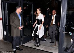Quite the entrance: Gigi looked fashionable a she arrived at the event...