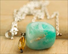 Sterling Silver Chrysoprase Citrine Necklace - Jewelry by Jason Stroud.