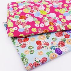 2PCS Cotton Cloth Woven Fabric Floral Printed Fabric DIY Craft Sewing Handmade Patchwork Scrapbooking Pillow Sewing Tissue 50cm x 50CM