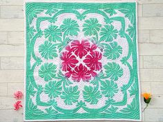 Hawaiian quilt wall hanging 42X42107cmX107cm by miyukiito on Etsy, $150.00