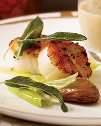 Scallops with Chestnut Sauce and Crisp Sage - Absolutely delicious! We loved the chestnut sauce. Sage Recipes, Bacon Recipes, Cooking Recipes, Seafood Dishes, Fish And Seafood, Seafood Recipes, Shellfish Recipes, Romantic Dinner Recipes, Romantic Meals