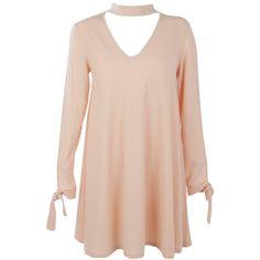 Boohoo Leila Choker Sleeve Detail Rib Knit Swing Dress   Boohoo (88 BRL) ❤ liked on Polyvore featuring dresses and boohoo dresses