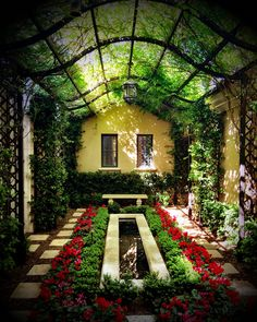 Enchanting courtyard of this Candelaria Design~Berghoff Design home built by… Small Courtyard Gardens, Small Courtyards, Small Gardens, Outdoor Gardens, Outdoor Patios, Outdoor Rooms, Amazing Gardens, Beautiful Gardens, Landscape Design