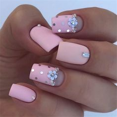 Brown Red Fake Nails Matte Metal Manicure French Long Design Full Cover False Nails with Metal Side Nail Tips - Cute Nails Club Matte Pink Nails, Light Pink Nails, Pink Acrylic Nails, Silver Nails, Rhinestone Nails, Light Pink Nail Designs, Silver Nail Designs, Acrylic Nail Designs, Nail Art Designs