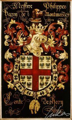 "(224) Philippe de MONTMORENCY, comte de Hornes (1518-1568) -- ""Messire Philippes, baron de Montmore(n)cy, conte de Horn"" -- Armorial plate from the Order of the Golden Fleece, 1559, Saint Bavo Cathedral, Gent"