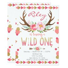 Add a touch of uniqueness to your little ones special day with this antler wild one birthday invitation! We also have this design available in other colors.