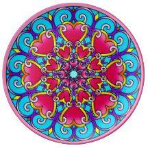Heart Chakra Healing Mandala Plate Porcelain Plate