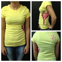 Ladies' Edged Evolution G.C. Tee (Banana Yellow/ Hot Pink)