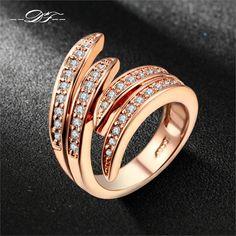 Double fair amore angle ala cubic zirconia anello in oro rosa/argento colore partito di modo/monili di cerimonia nuziale per le donne anel dfr115