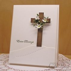 I would add two smaller crosses. The Cross by Arizona Maine - Cards and Paper Crafts at Splitcoaststampers Easter Cards Religious, Tarjetas Diy, Baptism Cards, Christian Cards, Diy Ostern, Easter Cross, Communion, Sympathy Cards, Birthday Cards