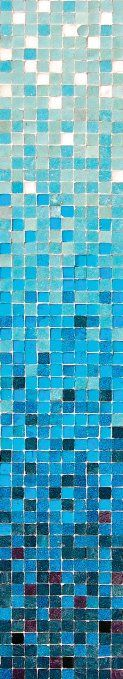 JP London UCPS9018 uStrip Peel and Stick Mural Cool Breeze Gradient Tile tone Blue Water at 8.5 feet high by 1.5 feet wide