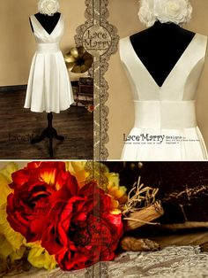 Knee Length Wedding Dress from Glossy Satin with Ruched V