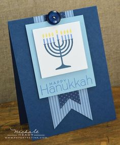 Menorah Card by Nichole Heady for Papertrey Ink (October Diy Hanukkah, Hanukkah Cards, Christmas Hanukkah, Hannukah, Happy Hanukkah, Hanukkah Menorah, Holiday Cards, Christmas Cards, Holiday Ideas