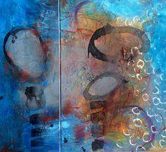 Blue Water - Dyptichon Acryl-Mischtechnik