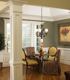 Columns In House dining room of the hartford - house plan number 1048 - love the