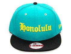 Teal Neon Honolulu Snapback Cap by FITTED HAWAII x NEW ERA