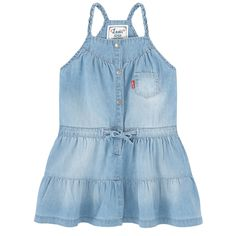 Cotton denim Light item Sleeveless shape American neckline Straps on the shoulders Gathers on the chest Flounces under the waistband Patch pocket Flared hem Snap buttons on the front Drawstrings on the front Stone-washed effect Brand label on the front - 50,00 €