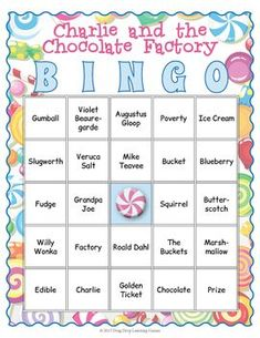 Charlie and the Chocolate Factory Bingo Game - My Winter Break 2020 Bingo Games, Activity Games, Card Games, Chocolate Party, Hot Chocolate, Charlie And The Chocolate Factory Crafts, Wonka Chocolate Factory, Chocolates, Matching Cards