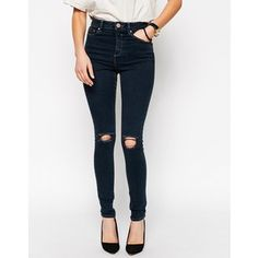 ASOS Ridley Skinny Jeans In Dean Acid Wash with Displaced Ripped Knees