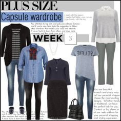 Week 3 plus size outfits from capsule wardrobe 1