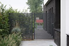 Outdoor Spaces, Outdoor Living, Outdoor Decor, Fence Design, Garden Design, Steel Gate, Metal Gates, Diy Fence, Modern Fence