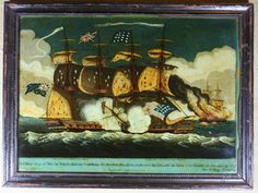 Glass picture of The British Ship Pelican Raking and Capturing the American brig Argus, circa 1813