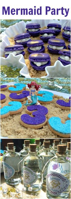 """Amanda The Little Mermaid - best mermaid party ideas. LOVE those """"oyster"""" macarons with pearls :)."""