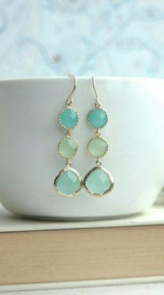 Shades of Mint Green Drop Dangle Earrings. Mint Opal, Lime Green, Light Mint Glass Drop Dangle Long Earring. Wedding Bridal Bridesmaid Gifts by Marolsha