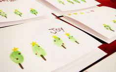 thumbprint christmas tree cards