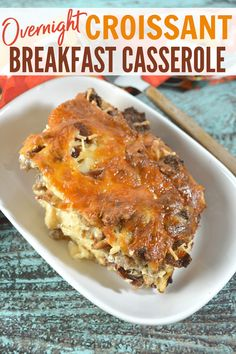 This overnight croissant breakfast casserole is a family favorite. I love that you can prep it ahead of time so all you have to do in the morning is put it in the oven! Croissant Breakfast Casserole, Make Ahead Breakfast Casserole, Best Breakfast Recipes, Sausage Breakfast, Breakfast Meals, Cooking Recipes, Healthy Recipes, Healthy Food, Casserole Recipes