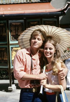 """1970s, Laura (Genie Francis) and Scott (Kin Shriner) enjoy time together, on ABC Daytime's """"General Hospital."""