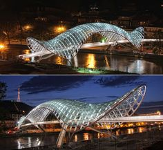 The Bridge of Peace - Tbilisi, Georgia; pedestrian bridge designed by Michel De Lucchi and Philippe Martinaud; opened in has a 492 feet long canopy roof of steel and glass Backyard Canopy, Garden Canopy, Diy Canopy, Canopy Outdoor, Canopy Tent, Canopy Bedroom, Canopies, Office Canopy, Ikea Canopy